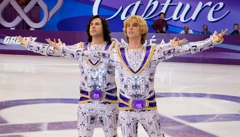 Will Ferrell as Chazz Michael Michaels and Jon Heder as Jimmy MacElroy in 'Blades of Glory.' Kinda dumb on the ground, but delightful in the air. Photo: Suzanne Hanover, AP