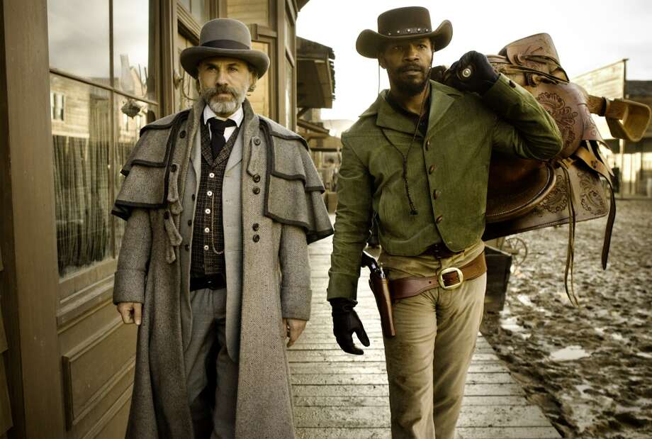 Christoph Waltz and Django in 'Django Unchained.' If you haven't seen it yet, a plane would be good place to watch it. Photo: Andrew Cooper,  SMPSP, The Weinstein Company