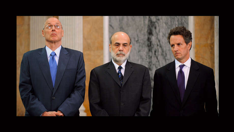 Left to Right: Henry Paulson, Ben Bernanke and Timothy Geithner from the documentary, 'Inside Job.'   A strong documentary that may angry enough to forget you're on a plane. Photo: Representational Pictures, Courtesy Of Sony Pictures Classi / SFC