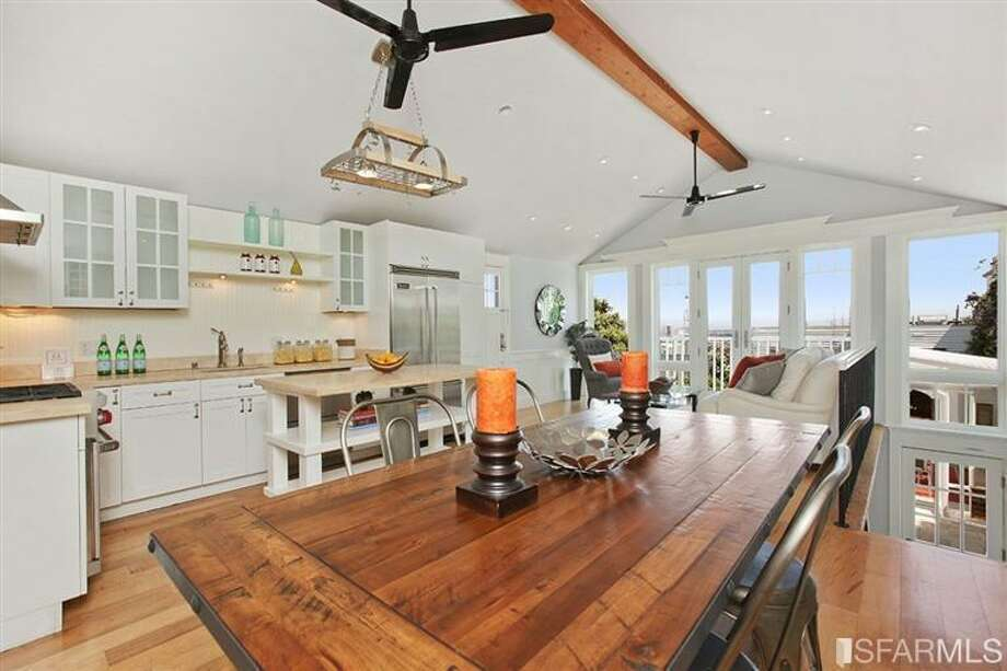 The open concept eating-living-dining space