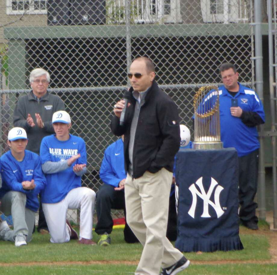 New York Yankees general manager Brian Cashman says a few words during the Opening Day ceremony for Darien Little Leauge on Monday, April 28. Photo: Contributed Photo, Contributed / Darien News Contributed