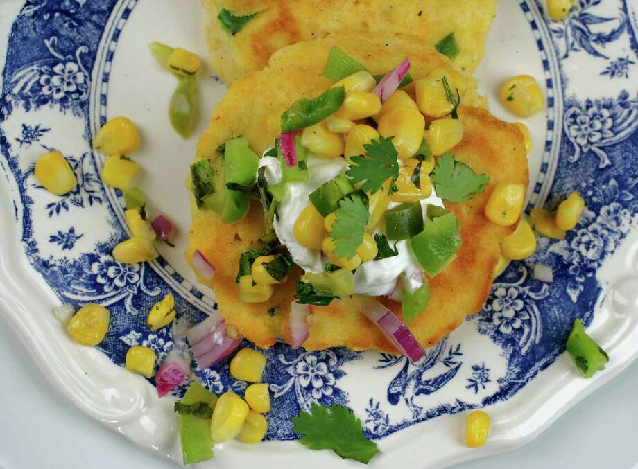 Cornmeal Pancakes with Corn Salsa can be made vegan or spiced up to your liking. Photo: James Nielsen, Staff / © 2014  Houston Chronicle