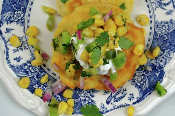 Cornmeal Pancakes with Corn Salsa can be made vegan or spiced up to your liking.