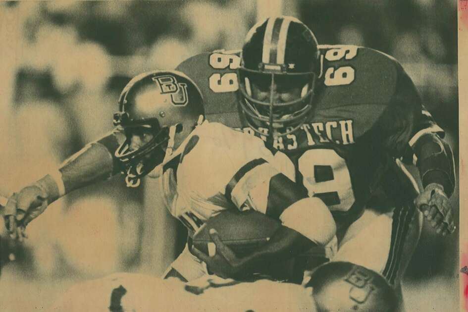 In the first round of the NFL draft Texas Tech defensive tackle Gabe Rivera was the 21st pick by the Pittsburgh Steelers. Rivera is shown in this 1982 file photo bearing down on Baylor fullback Robert Williams. (EN file photo)