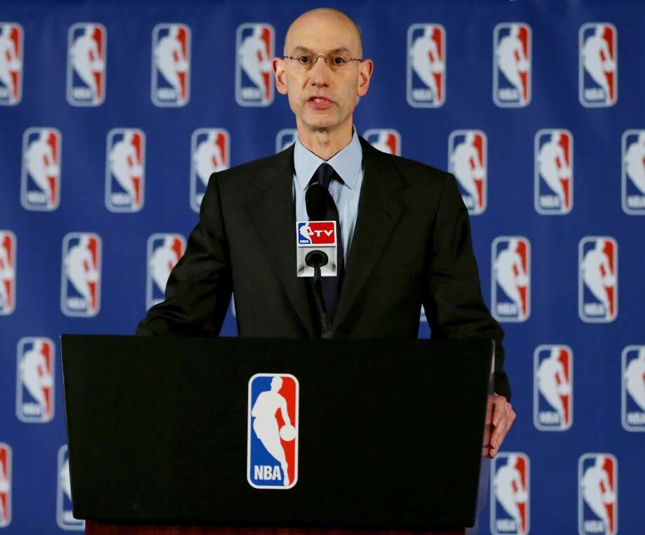 NBA Commissioner Adam Silver holds a press conference to discuss Los Angeles Clippers owner Donald Sterling at the Hilton Hotel on April 29, 2014 in New York City. Photo: Elsa, Getty Images