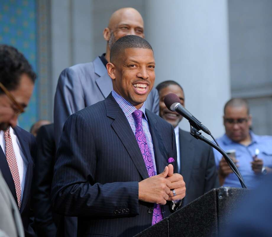 LOS ANGELES, CA - APRIL 29:  Sacramento Mayor Kevin Johnson addresses the media during the press conference in response to the NBA decision on Donald Sterling ownership at Los Angeles City Hall on April 29, 2014 in Los Angeles, California. Silver announced that Sterling will be banned from the NBA for life and will be fined $2.5 million for racist comments released in audio recordings. (Photo by Noel Vasquez/Getty Images) Photo: Noel Vasquez, Getty Images