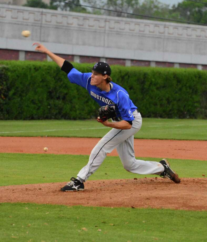 Houston Christian pitcher Hudson Treu was part of the Mustangs' main highlight this season, winning the SPC baseball championship, the school's first team title in the league. Photo: Jimmy Loyd / freelance