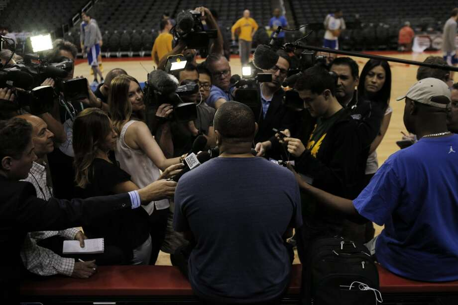 Golden State Warriors head coach Mark Jackson speaks to the media during a morning shoot around at Staples Center before the decision by NBA Commissioner Adam Silver to indefinitely suspend Clippers owner Donald Sterling on Tuesday, April 29, 2014, in Los Angeles, Calif. Photo: Carlos Avila Gonzalez, The Chronicle