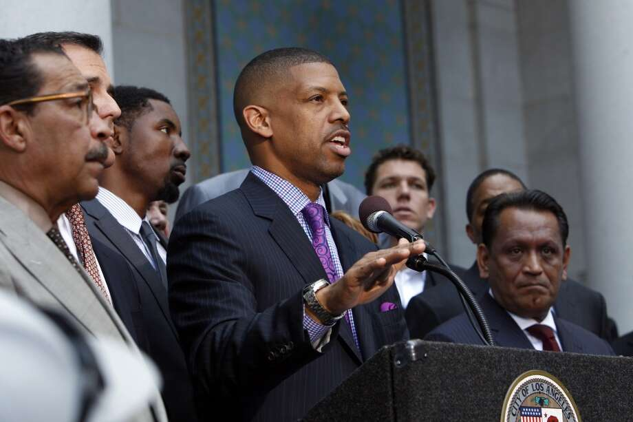 Sacramento Mayor Kevin Johnson speaks with a fellow mayors and former NBA players at Los Angeles City Hall addressing the decision by NBA Commissioner Adam Silver to indefinitely suspend Clippers owner Donald Sterling on Tuesday, April 29, 2014, in Los Angeles, Calif. Johnson was speaking as a representative of the NBA players' association. Photo: Carlos Avila Gonzalez, The Chronicle