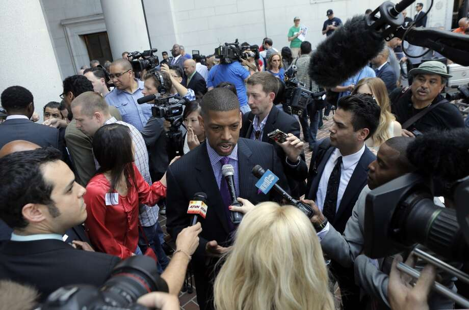 Mayor Kevin Johnson, of Sacramento, addressed the press at City Hall in Los Angeles regarding the decision by NBA Commissioner Adam Silver to indefinitely suspend Clippers owner Donald Sterling on Tuesday, April 29, 2014, in Los Angeles, Calif. Photo: Carlos Avila Gonzalez, The Chronicle