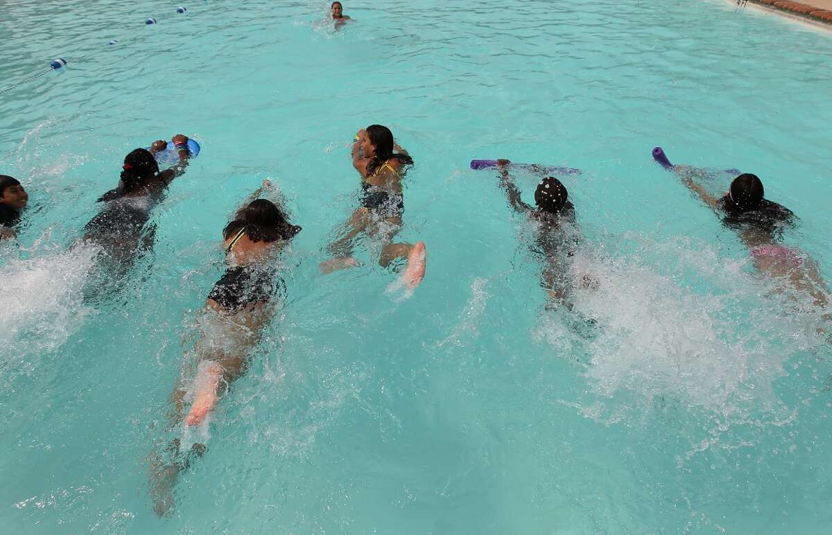 Hit the pool. Pool season began June 14. Taking a dip can can be a fun way to get outdoors without frying. San Antonio has 26 outdoor public pools. Click here to find one close to you.