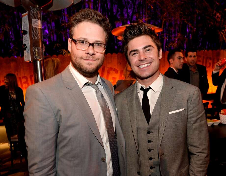 "Actor/producer Seth Rogen (L) and actor Zac Efron pose at the after party for the premiere of Universal Pictures' ""Neighbors"" at The Armand Hammer Museum on April 28, 2014 in Los Angeles, California. Photo: Kevin Winter, Getty Images"