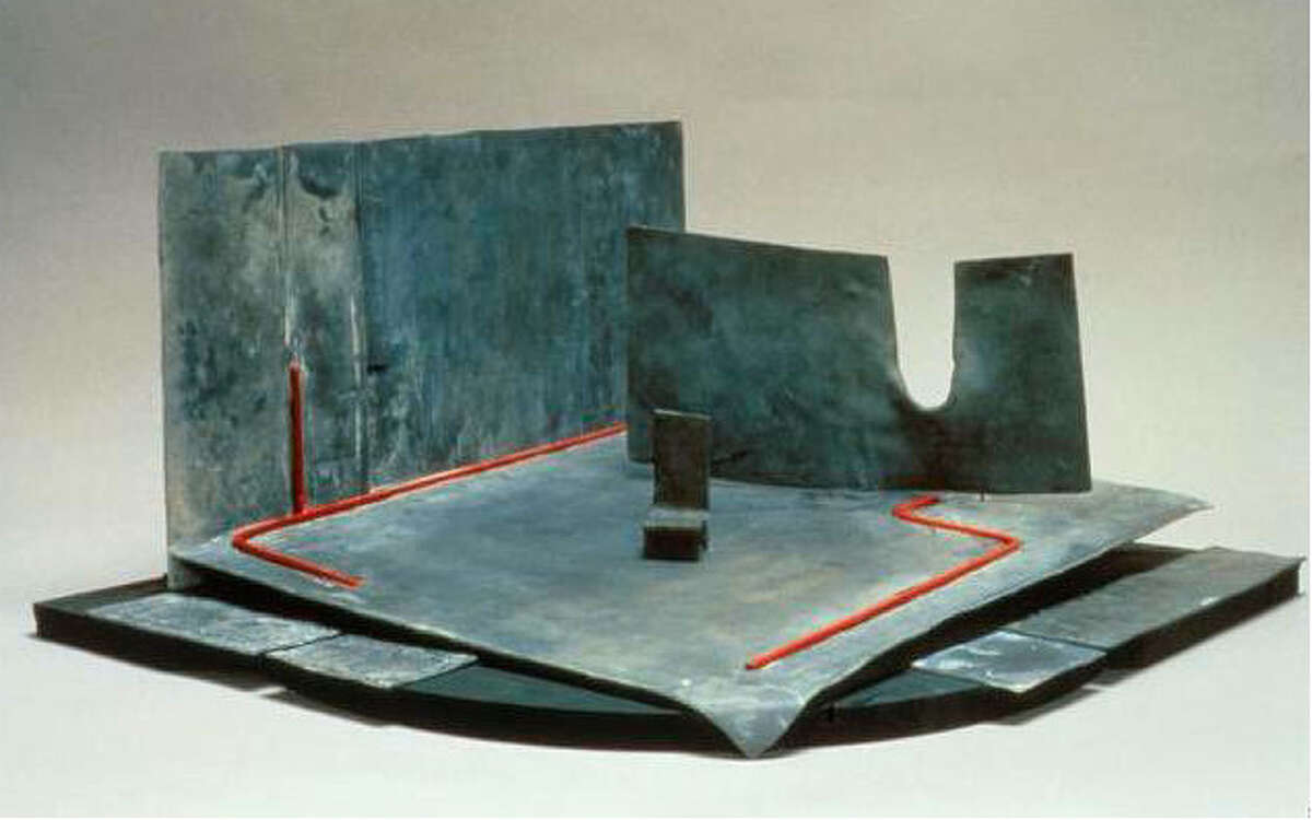 """Ralph Koltai's simple maquette for a 1979 London production of """"Richard III"""" resembles abstract metal sculpture."""