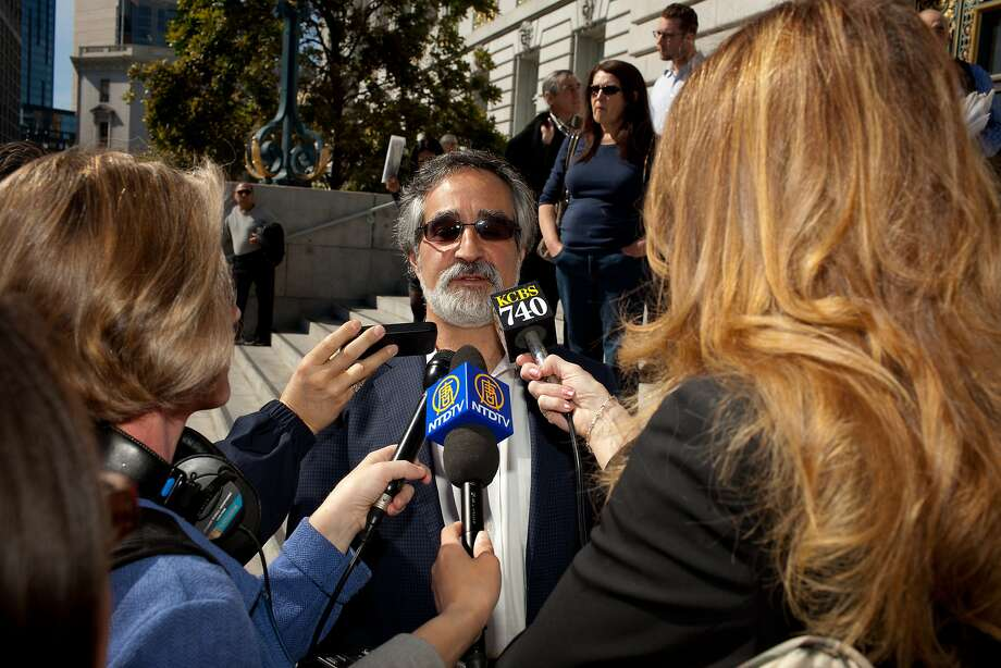 Aaron Peskin, former member of San Francisco Board of Supervisors, speaks to reporters during a press conference at City Hall on Tuesday, April 29, 2014. Groups representing tenants, landlords, hotel workers, neighborhood organizations and the hospitality industry spoke against legislation introduced by Supervisor David Chiu to legalize short term rentals of residential property across San Francisco. Opponents to the legislation say that it will exacerbate the housing crisis. Photo: Tim Hussin, Special To The Chronicle