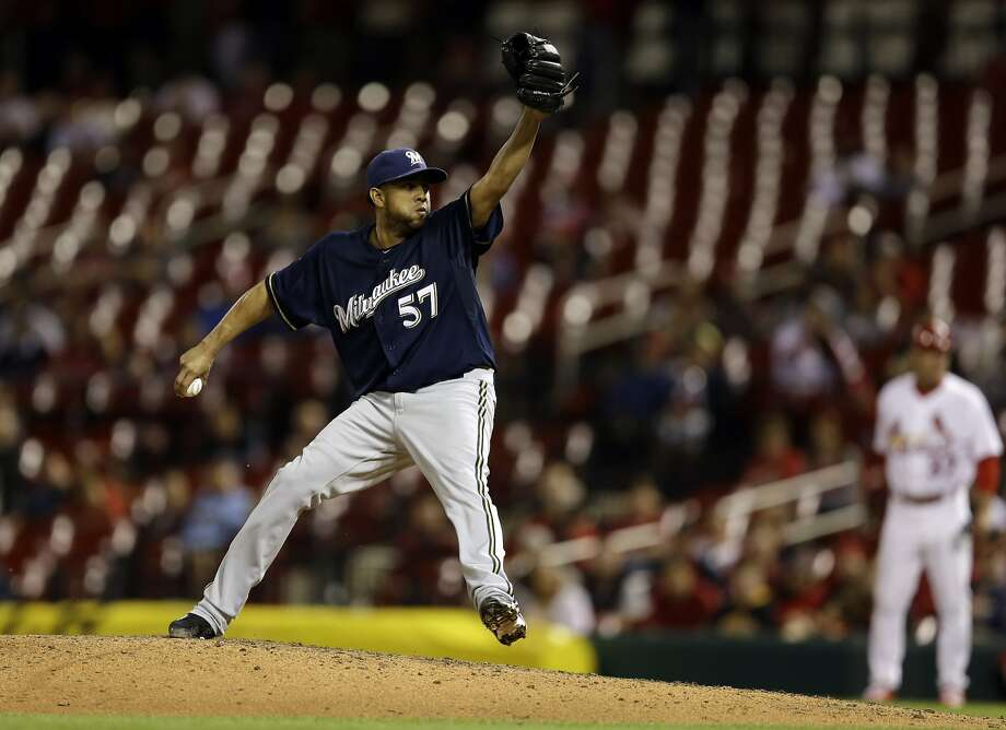 Francisco Rodriguez set a Brewers franchise-record Monday for saves by the end of April with his 12th. Photo: Jeff Roberson, Associated Press