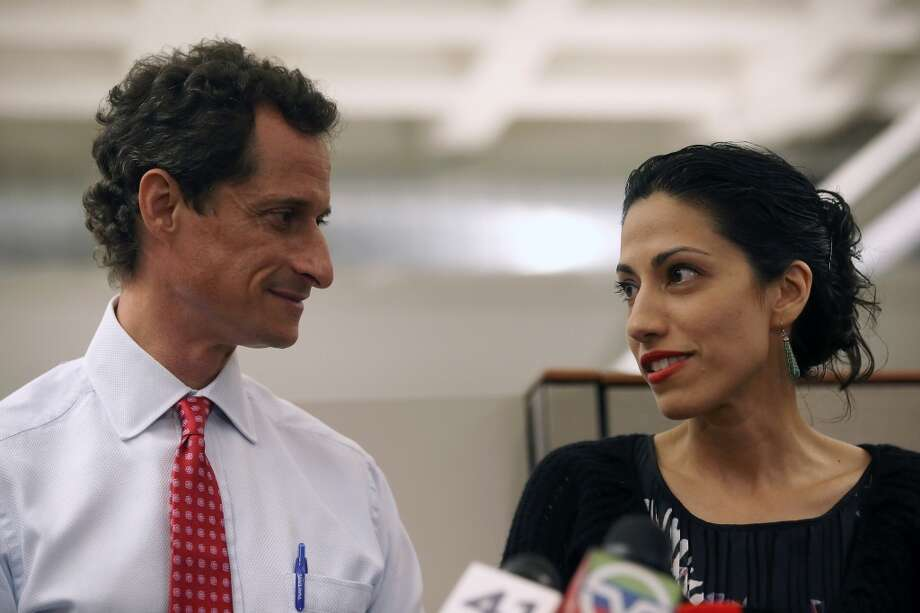 Huma Abedin stood by husband Anthony Weiner through two scandals in which he admitted to sending lewd messages to other women. But they separated after his third case of sexting. Keep clicking to see other political sex scandals. Photo: John Moore, Getty Images