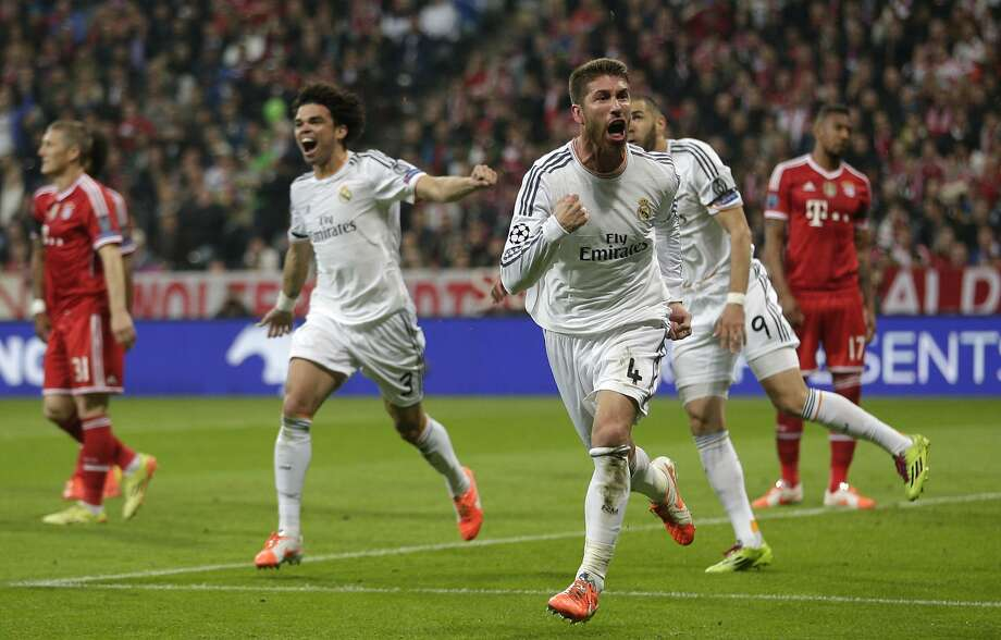 Real Madrid's Sergio Ramos celebrates scoring his side's second goal in the Champions League semifinal against Bayern Munich. Photo: Matthias Schrader, Associated Press