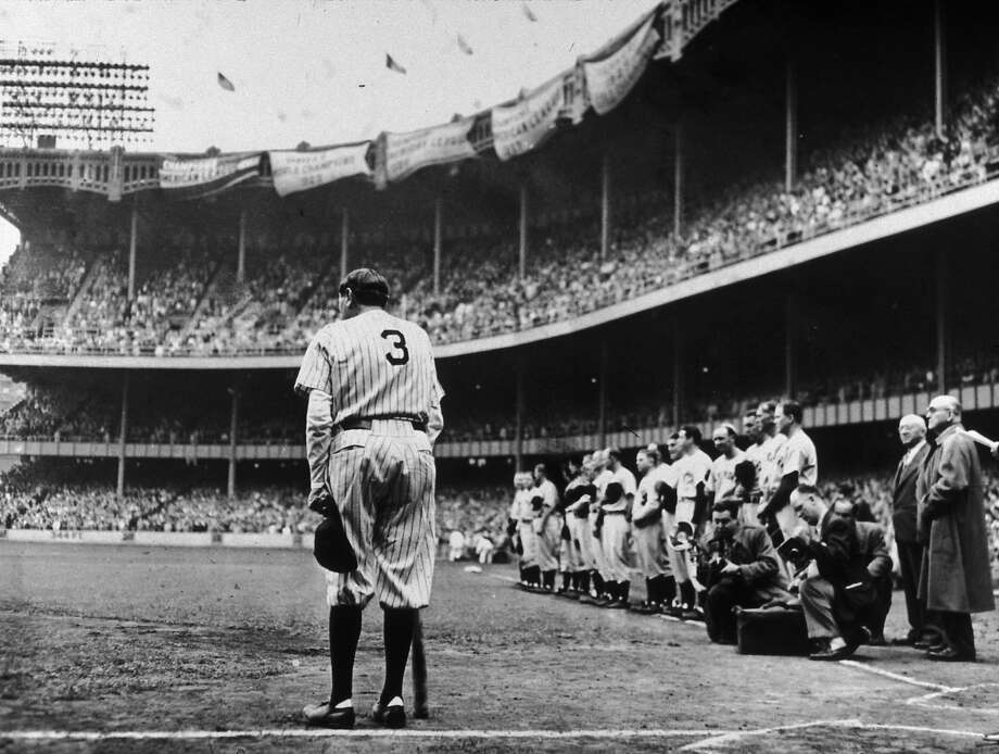 Babe Ruth on June 13, 1948, as his No. 3 was formally retired on the 25th anniversary of Yankee Stadium. Photo: Nat Fein, Getty Images