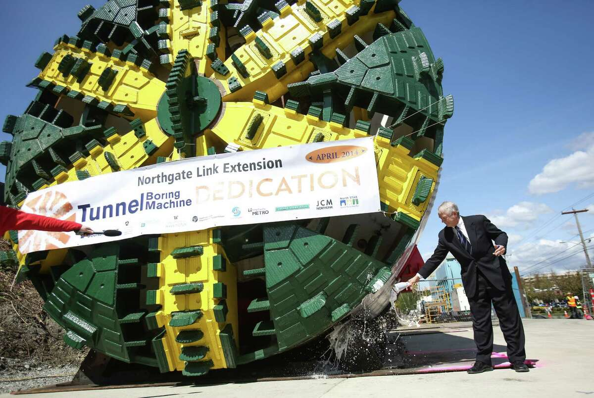 Paul Roberts, Sound Transit board vice chairman christens Sound Transit's tunnel boring machine named
