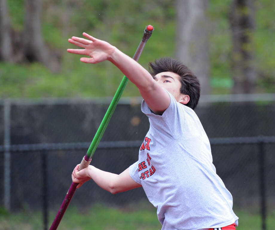 Ian Brown of Greenwich High School throws the javelin during the high school track meet at Greenwich High School, Tuesday, April 29, 2014. Photo: Bob Luckey / Greenwich Time