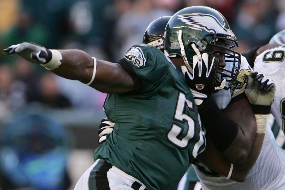 Pick No. 146 | 2005 | Philadelphia EaglesTrent Cole | Defensive end | CincinnatiWith 5.0 sacks in his rookie season, Cole proved to be an immediate pass-rush threat for the Eagles. He burst onto the scene in 2007 with a 12.5-sack Pro-Bowl season and has since registered four double-digit sack campaigns in his 9-year career in Philadelphia. Photo: Chris McGrath, Getty Images