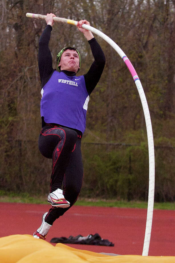 Westhill's Chris Rough competes in the pole vault clearing 12-feet during the boys track meet at Westhill High School in Stamford, Conn., on Tuesday, April 29, 2014. Photo: Jason Rearick / Stamford Advocate