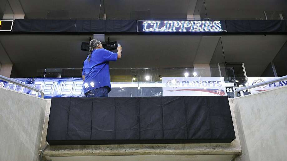 Advertisements are covered inside the Staples Center before Game 5 after several companies cut ties with the Clippers. Photo: Wally Skalij, McClatchy-Tribune News Service