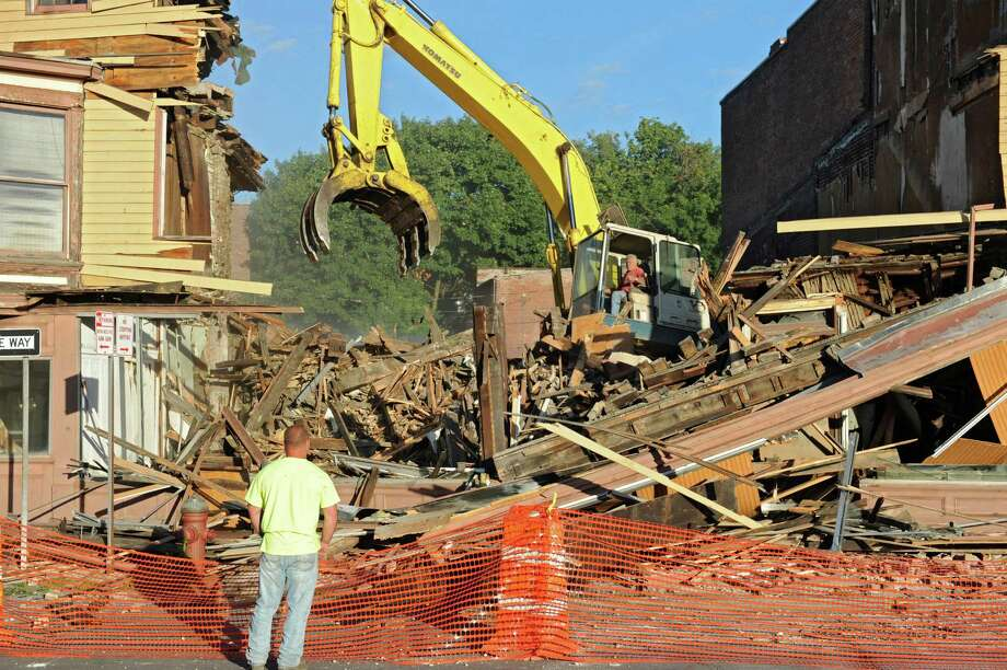 Buildings 4,6,8 and 10 on King St. in Troy before they are demolished for safety reasons on Monday, Aug, 5, 2013 in Troy, N.Y.  (Lori Van Buren / Times Union) Photo: Lori Van Buren / 00023428A