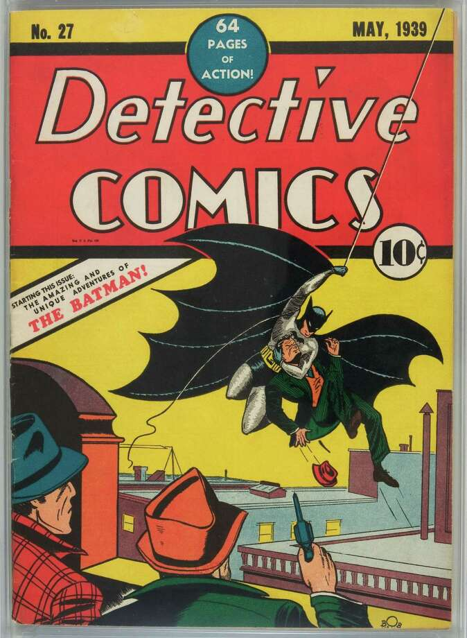 This undated photo provided by Heritage Auction Galleries shows a 1939 copy of Detective Comics #27, with the first appearance of Batman in the traditional black and grey spandex-like Batsuit. Photo: Anonymous, Associated Press / AP2010
