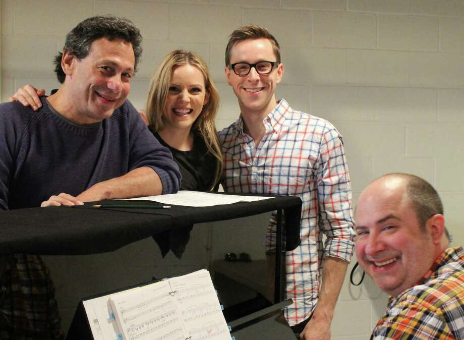 "Long Wharf Theatre is closing its 2013-2014 season with the Jason Robert Brown musical ""The Last Five Years."" Here at a rehearsal are (left to right) director Gordon Edelstein, performers Katie Rose Clarke and Adam Halpin, and musical director James Sampliner. Photo: Contributed Photo / Connecticut Post"