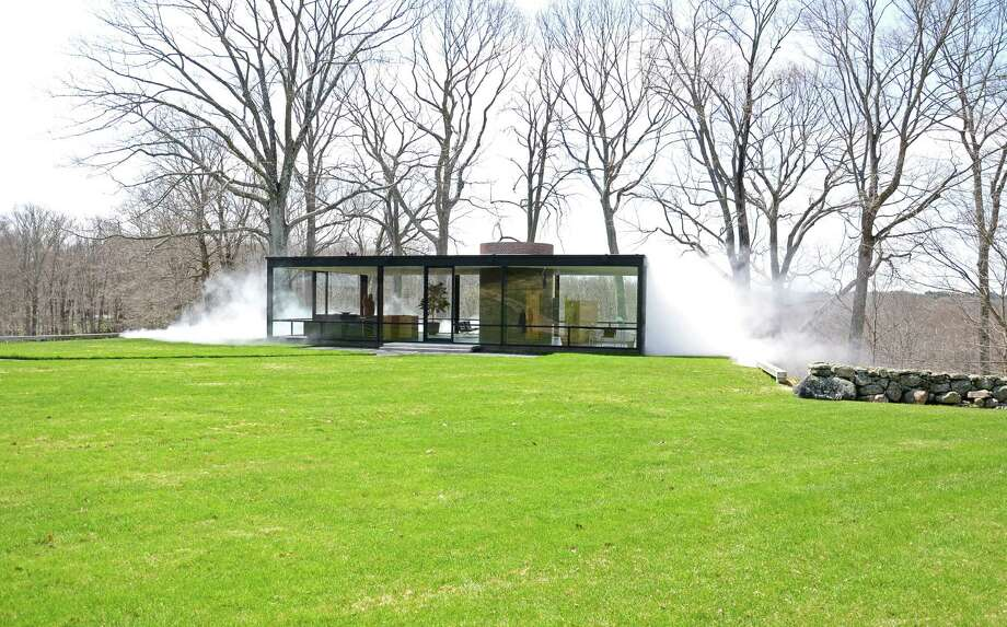 "Watch The Glass House, in New Canaan, Conn., ""disappear"" for a few minutes every hour with the new exhibit ""Fujiko Nakaya: Veil,"" whcih runs from May 1 to Nov. 30, 2014. Photo: Nelson Oliveira / New Canaan News"