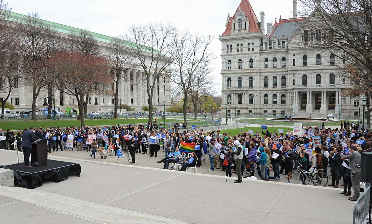 Mathew Shurka, survivor of conversion therapy efforts, speaks during the New York LGBT Equality & Justice Day 2014 rally hosted by Empire State Pride Agenda at the Capitol on Tuesday, April 29, 2014 in Albany. (Lori Van Buren / Times Union)