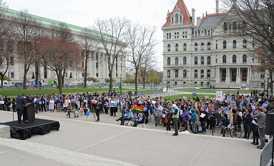 Mathew Shurka, survivor of conversion therapy efforts, speaks during the New York LGBT Equality & Justice Day 2014 rally hosted by Empire State Pride Agenda at the Capitol on Tuesday, April 29, 2014 in Albany.  (Lori Van Buren / Times Union) Photo: Lori Van Buren, Times Union