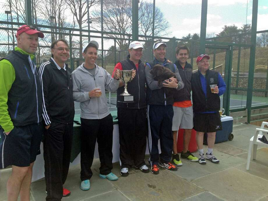 The winners of the sixth annual Paddles with a Purpose, which took place April 5 at Wee Burn Country Club in Darien and raised $7,800 for Stamford HospitalâÄôs Bennett Cancer Center, are Ned Burns, Country Club of New Canaan; Alex Dias, Larchmont Shore Club; Mark Innes, Country Club of Darien; Dave Mueller, Country Club of Darien; Chris Riendeau, Larchmont Shore Club, with Argus; Victor Dias, Larchmont Shore Club; and Jodie Dostal, Wee Burn Country Club. Photo: Contributed Photo, Contributed / Darien News