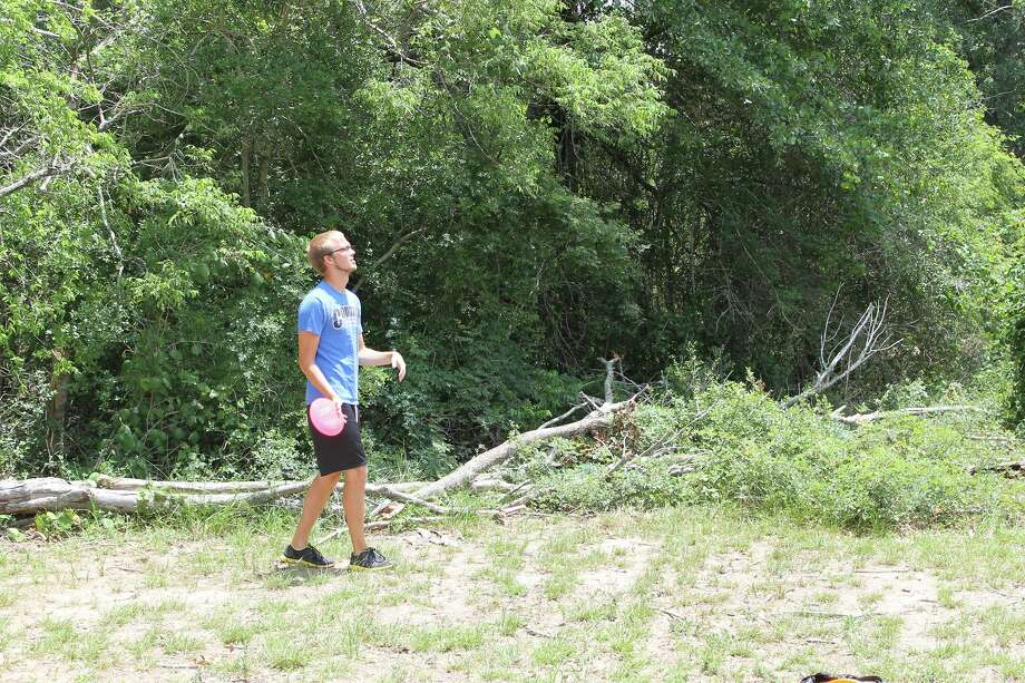 Cody Miller prepares for a disc golf throw at Windwood Presbyterian Church. Courtesy photo