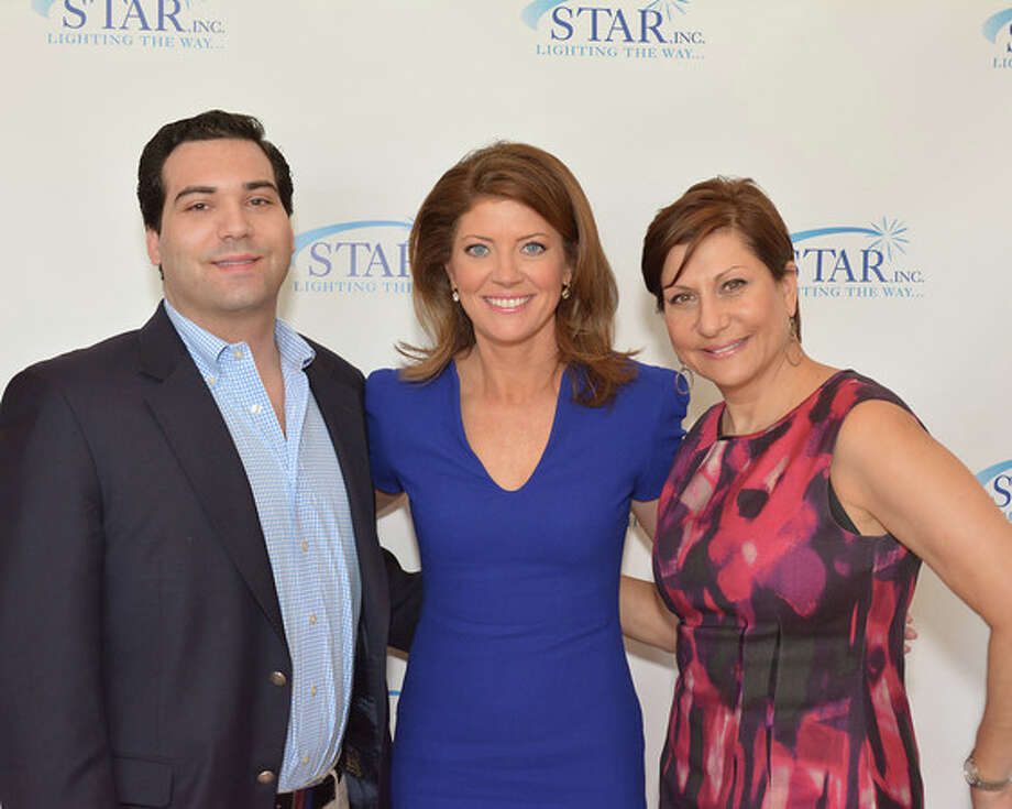 George Santangello, of Darien, who is a member of STAR Inc., Lighting the Way's board; Norah O'Donnell, guest speaker for the second annual Speakers Luncheon April 3: and  Flavia Callari, Callari Auto Group of Darien, which was a sponsor of the event. Photo: Contributed Photo, Contributed / Darien News