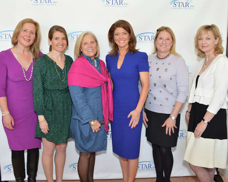 Among the guests at the annual Speakers Luncheon presented by STAR Inc., Lighting the Way, were, from left, Meredith Silburn, Meghan Cioffi and Cricket Barkhorn, all of New Canaan; Norah O'Donnell, chief White House correspondent for CBS News and the guest speaker; Debbie Hill, of New Canaan; and Linda Cioffi, of New Jersey. Photo: Contributed Photo, Contributed / New Canaan News Contributed