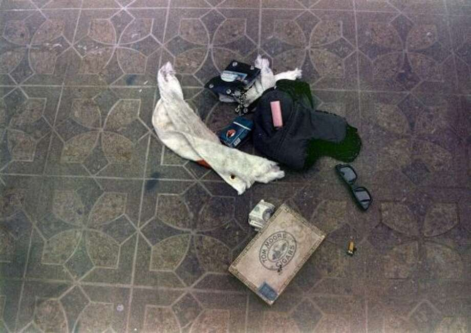 Items found at the scene of Kurt Cobain's suicide, in Seattle. Photo: Seattle Police Department, AP