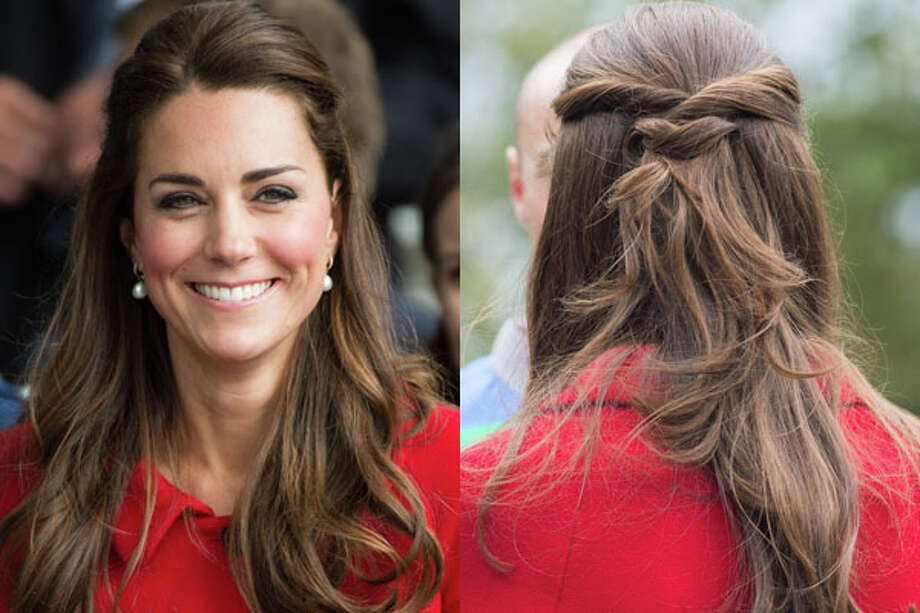 "Kate Middleton  Re-create the Duchess's simple updo by sectioning off a bit of hair on each side. ""Twist around your finger and pull back to just below your crown,"" says British celebrity hairstylist Mark Hill. ""Depending on the length of your hair, either knot or coil the two sections around each other and secure with a couple of bobby pins.""Read: The everything guide to contouring Photo: Getty Images"