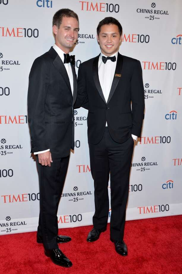 Honorees Evan Spiegel (L) and Bobby Murphy attend the TIME 100 Gala, TIME's 100 most influential people in the world, at Jazz at Lincoln Center on April 29, 2014 in New York City. Photo: Ben Gabbe, Getty Images For TIME