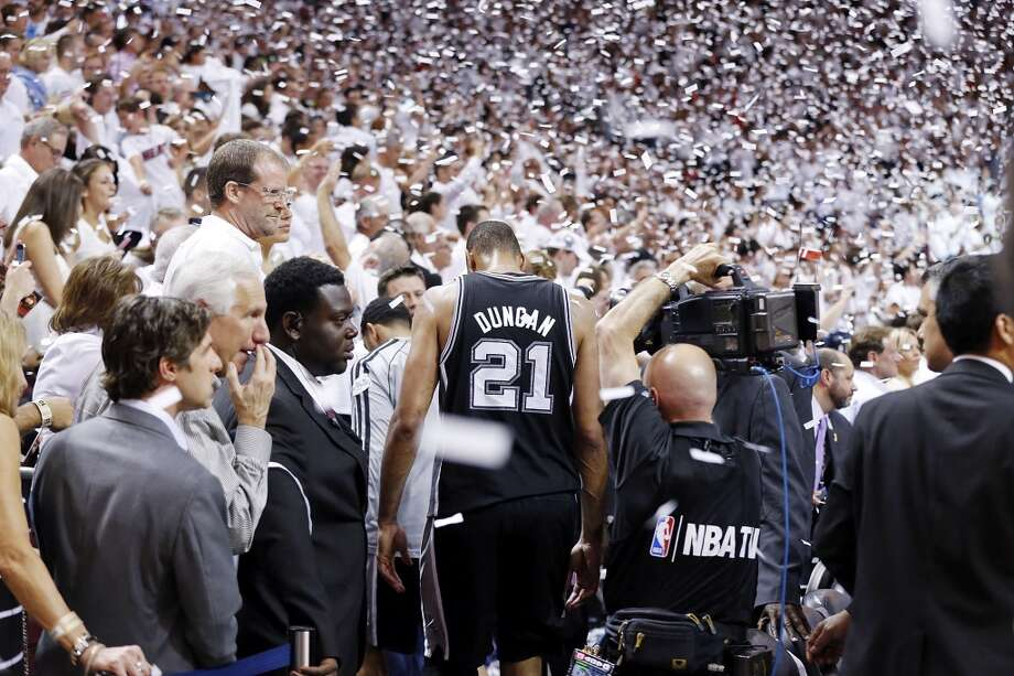 ... for the team's first NBA Finals loss.PHOTO: Tim Duncan walks off the court after the Spurs' Game 7 loss in the NBA Finals to the Miami Heat on June 20, 2013, at American Airlines Arena in Miami. Photo: Edward A. Ornelas, San Antonio Express-News
