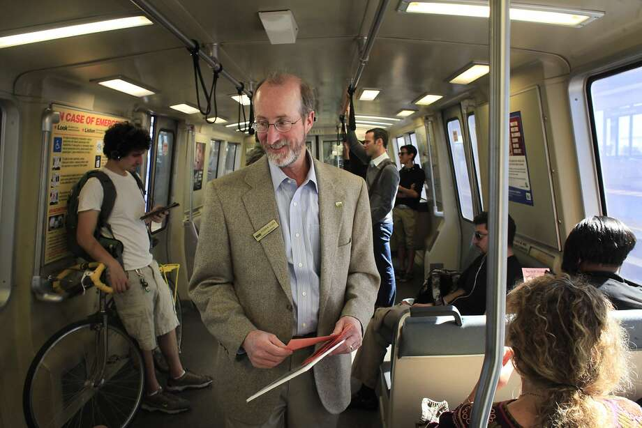 Orinda City Council member and banBARTstrikes.com organizer Steve Glazer campaigns to ban transit strikes in California by riding to all 44 BART stops on Monday, October 14, 2013 in Monday Oct. 14, 2013 in Orinda, Calif. Photo: Mike Kepka, The Chronicle