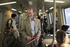 Orinda City Council member and banBARTstrikes.com organizer Steve Glazer campaigns to ban transit strikes in California by riding to all 44 BART stops on Monday, October 14, 2013 in Monday Oct. 14, 2013 in Orinda, Calif.