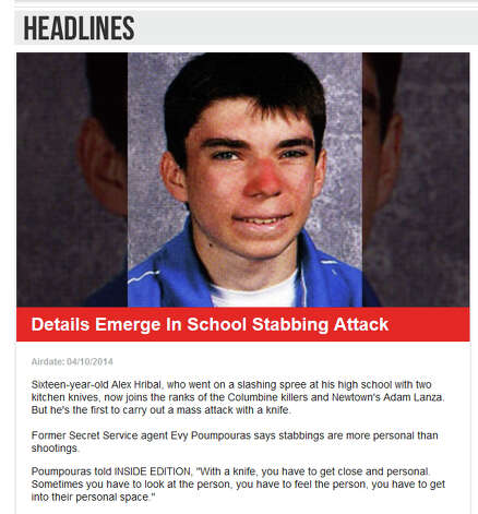 """Screen grab from Inside Edition website April 10, 2014 features a Pennsylvania school stabbing. """"Sixteen-year-old Alex Hribal, who went on a slashing spree at his high school with two kitchen knives, now joins the ranks of the Columbine killers and Newtown's Adam Lanza. But he's the first to carry out a mass attack with a kni"""