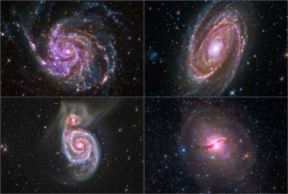 """And now for images of galaxies found in collaboration with amateurs.This quartet of galaxies comes from a collaboration of professional and amateur astronomers that combines optical data from amateur telescopes with data from the archives of NASA missions. Starting in the upper left and moving clockwise, the galaxies are M101 (the """"Pinwheel Galaxy""""), M81, Centaurus A, and M51 (the """"Whirlpool Galaxy"""").(Photo credit: X-ray: NASA/CXC/SAO; Optical (M101, M81, M51): Detlef Hartmann; Optical (Centaurus A): Rolf Olsen; Infrared: NASA/JPL-Caltech) Photo: Chandra X-ray Observatory Center, X-ray: NASA/CXC/SAO; Optical: De"""