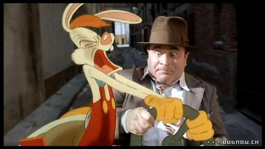 "Bob Hoskins and his animated co-star in ""Who Framed Roger Rabbit."" Photo: Touchstone Pictures 1988"