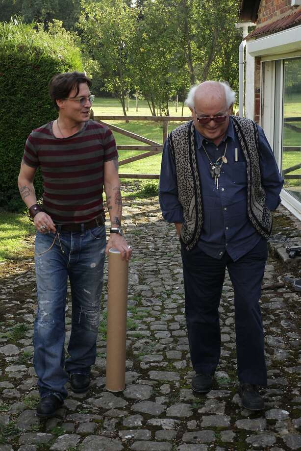 Johnny Depp takes a stroll with one of his idols, Hunter S. Thompson illustrator Ralph Steadman. Photo: Charlie Paul, Sony Pictures Classics