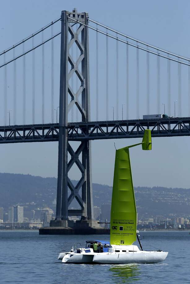 A trimaran using a rigid 45-foot sail goes on its daily test run around San Francisco Bay. Photo: Michael Macor, The Chronicle