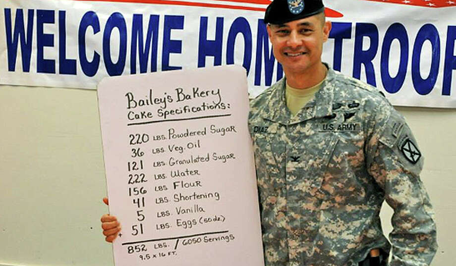 Col. Mario Diaz, commander of the Fourth Brigade Combat Team from Fort Polk, holds the list of ingredients that went into a supersize cake for returning soldiers: 220 pounds of powdered sugar, 36 pounds of vegetable oil, 121 pounds of granulated sugar, 222 pounds of water, 156 pounds of flour, 41 pounds of shortening, five pounds of vanilla and 51 pounds of eggs. Photo: Russell Bailey Photos