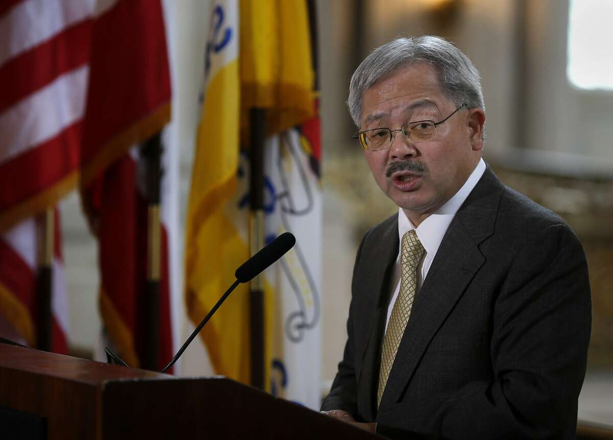 Mayor Lee addressed three women honorees during the ceremony Tuesday March 25, 2014. San Francisco Mayor Ed Lee celebrated Women's History month in a ceremony outside his City Hall offices.